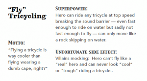 """Fly tricycling"" one of 20 ""quirky super power"" cards in the Life Outside the Box deck."
